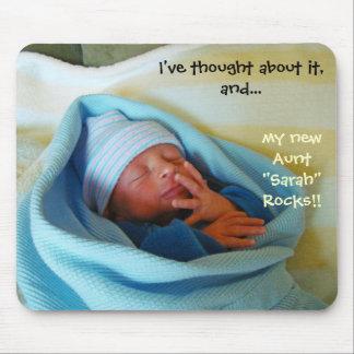 New Aunt Rocks mousepad New Baby Birth Aunts