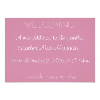 New baby 13 cm x 18 cm invitation card