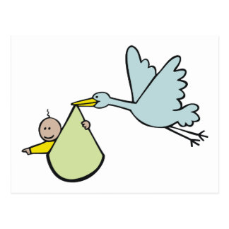 New Baby and Flying Stork Postcard