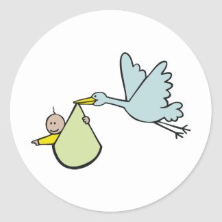 New Baby and Flying Stork Round Sticker