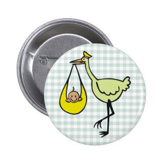 New Baby and Green Stork 6 Cm Round Badge