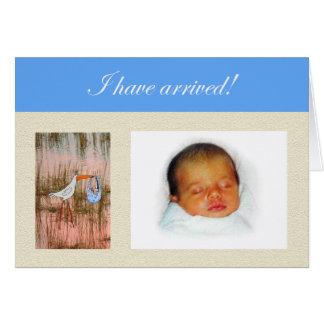 New baby announcement, custom card, stork. card