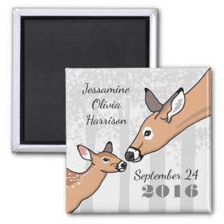 New Baby Announcement Deer and Fawn Personalized Square Magnet