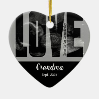 New Baby Announcement - Sonogram with DIY Text Ceramic Ornament