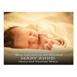 New Baby Announcement (white text, horizontal) Postcard