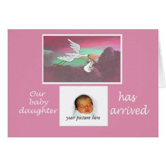 New Baby arrival announcement, stork, custom card. Card