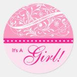 New Baby | Birth Announcement | Baby Shower Pink Round Sticker