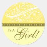 New Baby | Birth Announcement | Baby Shower Yellow Round Sticker