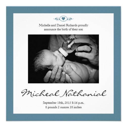 New Baby Birth Announcement Boy Blue