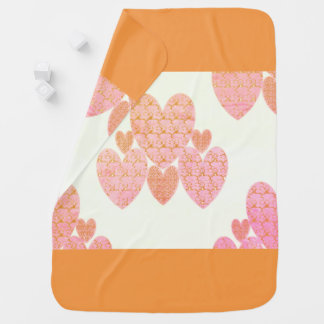 NEW-Baby Blanket_Soft-Peachy-Hearts_Country-Quilt Baby Blanket
