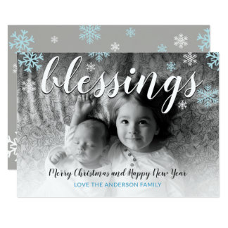 New Baby Blessings Snowflakes B&W Christmas Card