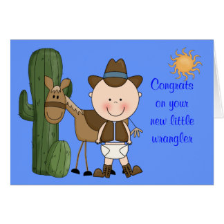 New Baby Boy and Pony Congratulations - Western Greeting Card