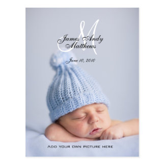 New Baby Boy Announcement Photo Postcards