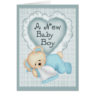 New Baby Boy Bear Greeting Card