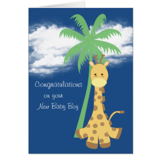 New baby boy congratulations blue giraffe greeting card