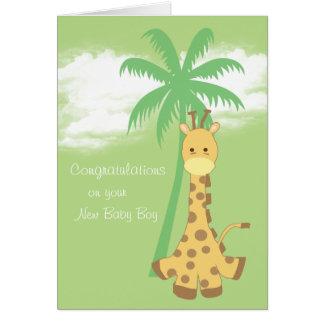 New baby boy congratulations blue giraffe greeting card