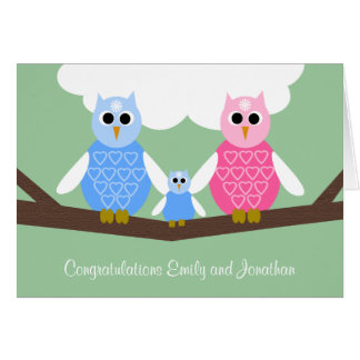 New Baby Boy Congratulations Card with Owl Family