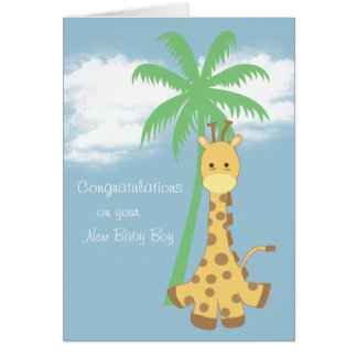 New baby boy congratulations pale blue giraffe card