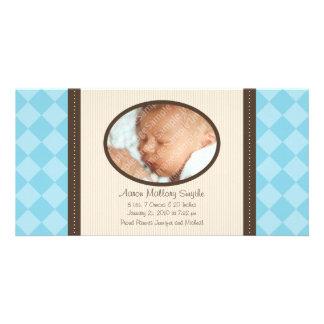 New Baby Boy Decorator Plaid Baby Birth Photo Card