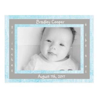 New Baby Boy Newborn Photo Birth Announcements Postcard