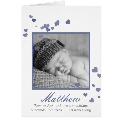 New Baby Boy Photo Birth Announcement Greeting Card