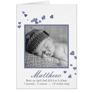New Baby Boy Photo Birth Announcement Note Card