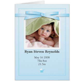 New Baby Boy Photo Blue Announcement Card
