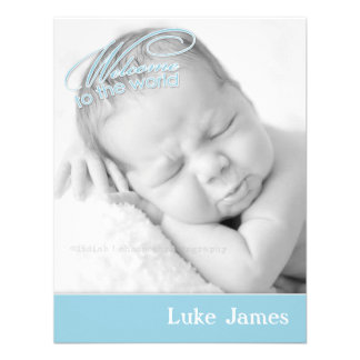 New Baby Boy Photo Flat Announcement Card