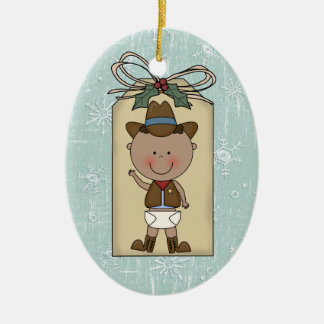 New Baby Boy Toddler Child Cowboy Gift Tag Ceramic Oval Decoration