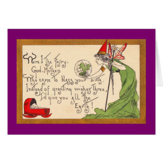 New Baby Card Fairy Godmother Vintage Image 1910