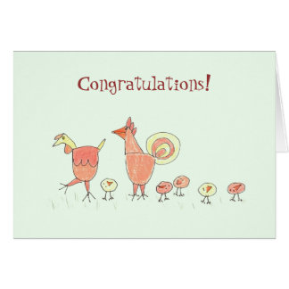 New Baby Chicken Family Greeting Card