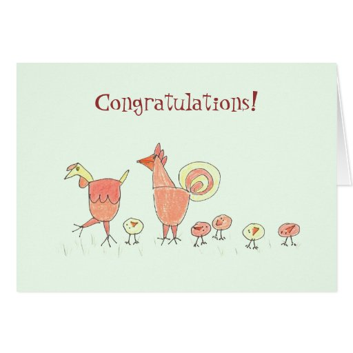 New Baby Chicken Family Card