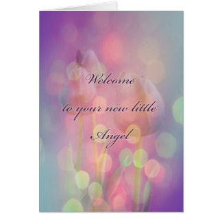 New Baby Congratulations - Bokeh Tulips Card