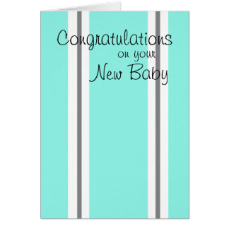 New baby congratulations striped card