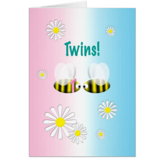New Baby Congratulations Twins Boy and Girl Greeting Card