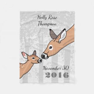 New Baby Cute Deer Fawn Personalized Fleece Blanket