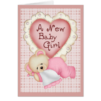New Baby Girl Bear Greeting Card