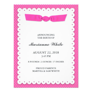 New Baby Girl Flat Announcement Card