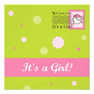 New Baby Girl Flat Announcement