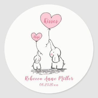 New Baby Girl Hugs And Kisses Elephants Classic Round Sticker