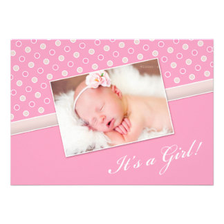 New Baby Girl Photo Announcement Flat Card