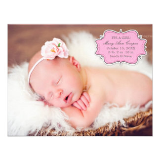New Baby Girl Photo Flat Announcement Card