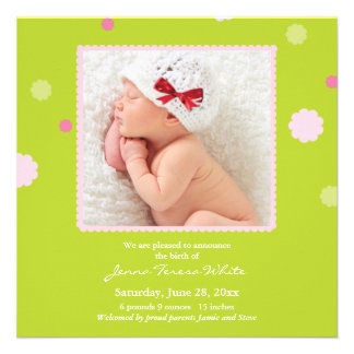 New Baby Girl Photo Flat Announcement