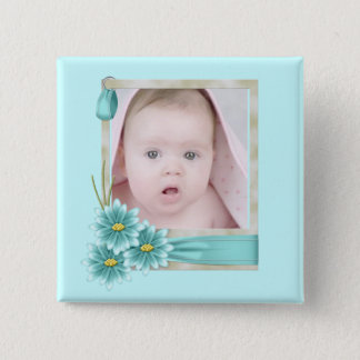 new baby girl photo modern Birth Announcement 15 Cm Square Badge