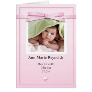 New Baby Girl Photo Pink Announcement Card