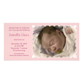 New Baby Girl Stamp Photo Card Announcements