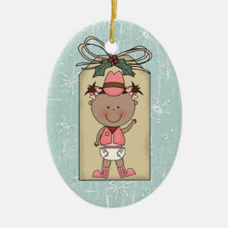 New Baby Girl Toddler Child Cowgirl Gift Tag Ceramic Oval Decoration