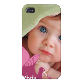 New Baby Girl Your Photo Pink Stork iPhone Cover iPhone 4/4S Case