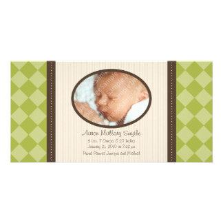 New Baby Green Decor Plaid Birth Photo Card