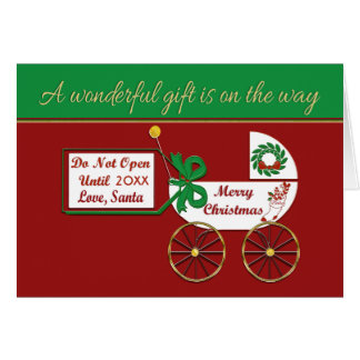 New baby Holiday card Merry Christmas Love Santa